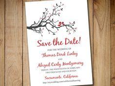 "Printable Save the Date Template - Wedding Announcement ""Love Bird Branch"" Valentine Red Burgundy Save the Date Card - DIY Wedding Template by PaintTheDayDesigns"