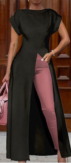 High Slit Zipper Solid Color Blouse - Source by silke_pettenpoh - African Wear, African Attire, African Dress, Latest African Fashion Dresses, African Print Fashion, Trend Fashion, Fashion Outfits, Womens Fashion, Color Fashion