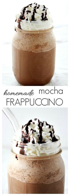 Homemade Mocha Frappuccino - a copycat coffee drink perfect for the hot days of Summer! It takes only 2 minutes to whip it up! Mocha Frappuccino, Hot Days, Coffee Nutrition, Copycat, Coffee Cups, Homemade, Drinks, Summer, Table