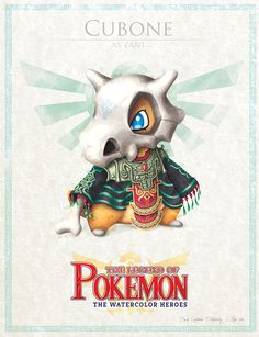 """Cubone - pxlbyte: """" The Legend of Pokemon Graphic designer David Pilatowsky is the man behind these Pokemon - Legend of Zelda mashups. These were of my favourites, you can find the multi-part gallery here. Les Pokemon, Pokemon Sets, Pokemon Comics, Pokemon Fan Art, Cute Pokemon, Pokemon Stuff, Digimon, Sailor Moon, Pokemon Mignon"""