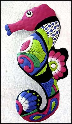 Painted Metal Seahorse Wall Hanging - Seahorse Metal Wall Art - Nautical Metal Art Decor - Beach Decor - Tropical Decor - by MetalArtofHaiti on Etsy Outdoor Metal Wall Art, Metal Garden Art, Metal Tree Wall Art, Diy Wall Art, Metal Art, Metal Wall Decor, Wall Décor, Wood Wall, Art Tropical