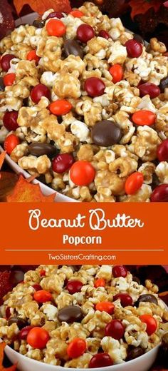 Peanut Butter Popcorn - sweet and salty popcorn covered in peanut butter, marshmallows and yummy Peanut Butter M&M's. A delicious Peanut Butter dessert that is super easy to make! It would be a great Halloween Treat or a Fall movie night dessert! Peanut Butter Popcorn, Peanut Butter Desserts, Popcorn Recipes, Snack Recipes, Cooking Recipes, Popcorn Snacks, Gourmet Popcorn, Kid Recipes, Dishes Recipes
