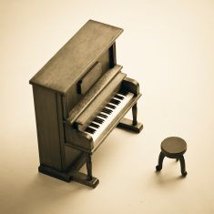Wood Seat And Piano Close Up stock photo