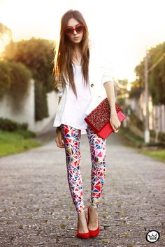 "Ruby Red Lovelysally Leggings, White Displicent Blazers | ""Tiles"" by fashioncoolture"