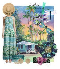 """Blue Hawaii"" by mariannemerceria ❤ liked on Polyvore featuring Eliza J, Kayu, Dolce&Gabbana, Eugenia Kim, TropicalVacation and SpecialTweek"