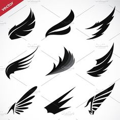 Find Vector Black Wing Icons Set On stock images in HD and millions of other royalty-free stock photos, illustrations and vectors in the Shutterstock collection. Free Vector Images, Vector Art, Vector Icons, Image Vector, Alas Tattoo, Wings Icon, Wings Drawing, Wings Logo, Wings Design