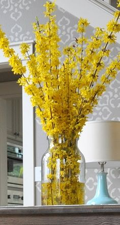 Forsythia arrangement--one of my Mother's favorite springtime flowers. She called them yellow bells and planted them with spirea and hawthorn for multiple color.This would be super simple to make! Spring Flower Arrangements, Floral Arrangements, Ikebana, Décor Boho, Boho Style, Spring Has Sprung, Mellow Yellow, Bright Yellow, Yellow Shades
