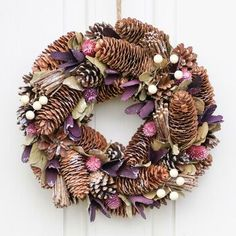 Christmas Hyacinth Door Wreath by Dibor, the perfect gift for Explore more unique gifts in our curated marketplace. Christmas Pine Cones, Christmas Wreaths, Cosy Fireplace, Nature Color Palette, Wreath Hanger, Pine Cone Crafts, Red Berries, Christmas Inspiration, Door Wreaths