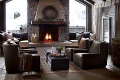 Norwegian wooden house in the mountains and cozy evenings by the fireplace on Christmas Eve. Interior Architecture, Interior Design, Cozy Fireplace, Fireplace Ideas, Cabin Interiors, Wooden House, Winter House, House Design, Home Decor
