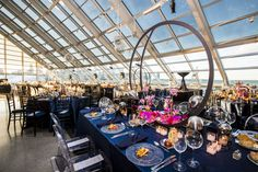 Adler Planetarium is the perfect space for any event! #chicago #eventcreative #adlerplanetarium #customevents #chicagoskyline #centerpieces
