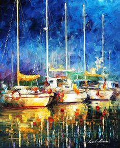 En el puerto, La espátula Marina Veleros pared arte pintura al óleo sobre lienzo…
