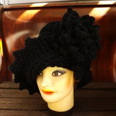 Crochet Hat Women Couture - LAUREN Cloche Hat in Black Wool for Winter - Steampunk Asymmetrical Unique Unusual Accessories. $45.00, via Etsy.