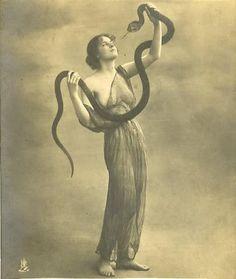 Vintage Photography - Side Show / Pin Up / Snake handler.