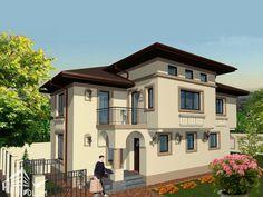 Case cu latimea de 7 metri - 3 proiecte generoase - Case practice Utila, Modern Bungalow House, Design Case, Home Projects, House Plans, Modern Design, Exterior, House Design, Mansions