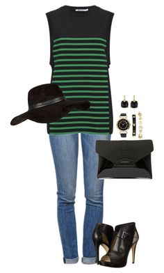 """""""Untitled #335"""" by nina-vc ❤ liked on Polyvore featuring Current/Elliott, T By Alexander Wang, MICHAEL Michael Kors, Givenchy, Anne Klein, Judith Ripka and River Island"""