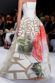 carolina herrera ss15- love that the geometric shapes are split up by sheer fabric making the shapes more defined