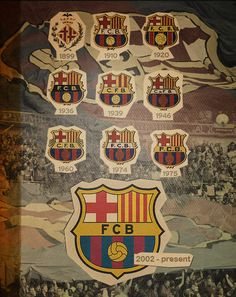 261. All of the Barca shields together. Notice 1939 through 1973 ('74 change) The fascist government of Francisco Franco forced the club to use the Spanish naming custom of Club de Futbol Barcelona.