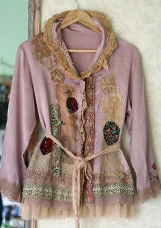Dyed--various lace, brocade, and beading scraps. Nice use of color and lace layering.