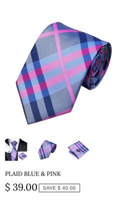 """Gentlemen's Neck Tie, Hanky & Cufflink Set. Color: Dark Gray, Pink & Blue Plaid Length: 59.06"""" (150cm) Width: 3.35"""" (8.5cm"""