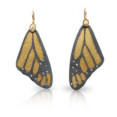 Large Monarch butterfly wing earrings in 18k Yellow gold and Oxidized Sterling silver, set with White and Raw Diamonds, on 18ky wires