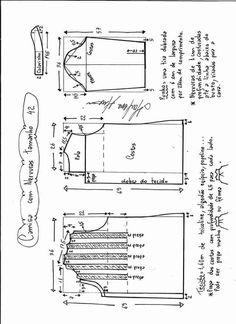 Camisa com nervuidas moldes 002 dif tallas