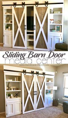 Sliding Barn Door Media Center featuring two-tone doors coated in behr white and rustoleum briarsmoke #mediacenter #barndoor