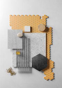 TERRATINTA // VOICES: THE SOUL OF CERAMICS on Behance Mood Board Interior, Interior Design Presentation, Material Board, Collage, Colour Board, Colour Schemes, Mood Boards, Pantone, Ceramics