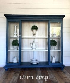 Navy blue hutch with driftwood backer By uturn design Repurposed Furniture, Home Decor Furniture, Shabby Chic Furniture, Furniture Projects, Furniture Makeover, Painted Furniture, Painted Hutch, Furniture Plans, Hutch Makeover