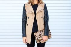 trench + leopard clutch