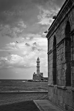 Chania Lighthouse Black N White, Crete, Lighthouses, Planet Earth, Black And White Photography, Planets, Black White Photography, Lighthouse, Black And White