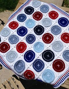 Ravelry: Storiesandstitchn's Bright as a Button Blanket by Susan Carlson of Felted Button