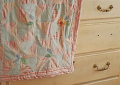 Rose Pink & Sage Green Hand-Sewn Baby Quilt with Embroidered Flowers