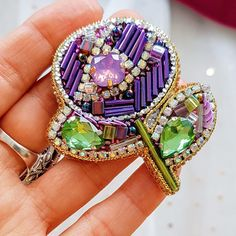 Flower Brooch,Valentine decor,purple flower,Floral Jewelry,Beaded Flower,Flower Pin,embroided flower,Valentines day gift,stylish pin Handmade bugle bead embroidery brooch. Wool felt on the other side. Brooch stiff and holds its shape well. Dimensions: Height:6sm (2,3 inches) Width: 5sm