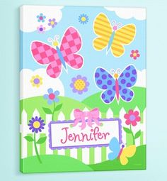 Butterfly Garden Canvas Art Personalize it with your child's name.