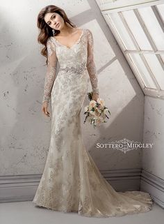 Wedding Dresses Sottero and Midgley 2014 Fall Collection Maggie Sottero   2014 Lace Wedding Dress wedding dresses bridal gown bridal gowns mermaid cut sheath vintage lace sleeves button down back beading 2014 Gatsby back sleeves modest