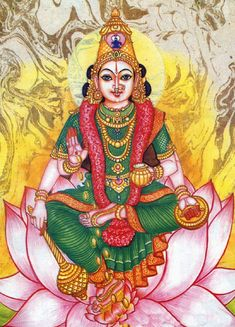 Mahalakshmi or Varalakshmi Vrata is celebrated on the last Friday of the bright fortnight in the month of Ashada. Lakshmi also known as the goddess of wealth is worshiped all across India. Saraswati Goddess, Kali Goddess, Indian Goddess, Mother Goddess, Shiva Shakti, Durga Maa, Kalamkari Painting, Tanjore Painting, Mysore Painting