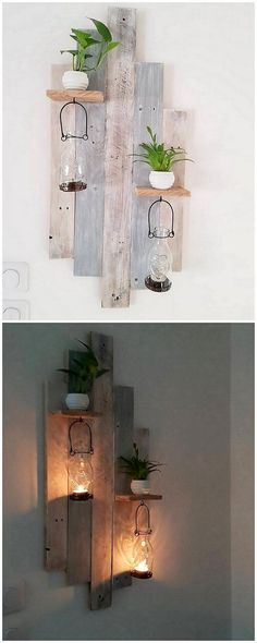 Pleasant and much modish wall decoration idea of wood pallet has been part of this image for you. This wall decoration idea has been resting over on top of the wall where its miniature shelf can be further used as the purpose of adorning the decoration pieces.