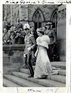 King George VI and Queen Elizabeth leaving the Canadian Parliament following the Royal Assent Ceremony,1939