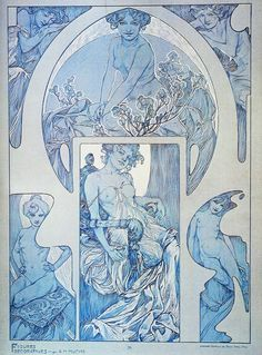 "fuckyeahvintageillustration: ""'Figures Décoratives' by Alphonse Mucha. Published 1905 by Librairie Centrale des Beaux Arts, Paris. ""This beautiful folio reflects Alphonse Mucha's mastery of the female form. As Art Nouveau's most influential artist,. Alphonse Mucha Art, Art Nouveau Illustration, Jugendstil Design, Free Art Prints, Art Nouveau Design, Art Inspo, Vintage Art, Fantasy Art, Art Drawings"
