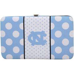 North Carolina Tar Heels (UNC) Womens Polka Dot Flat Wallet – Carolina Blue/White