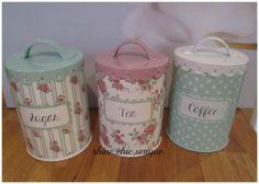 Details About Set Of 3 Cream Black Stripe Tea Coffee Sugar Canister Food Storage Jars Pots