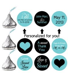 stickers for HERSHEY'S KISSES wedding favors (kiss6) personalized labels wedding turquoise brown hearts love is sweet