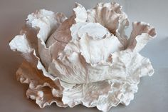 Large white faience Cabbage leaf soup tureen by Jean Paul Gourdon Diameter 58 cm or 23 ins