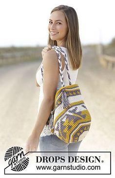 Crochet bag with color pattern in 2 strands DROPS Paris.--mochila
