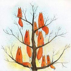 art, красивые картинки,лиса Лисы, лисички, fox, foxes, рыжие, хитрые,  лисы на дереве