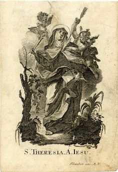 St Theresa; standing; a putto is piercing her heart with an arrow. c.1750s  Engraving with etching