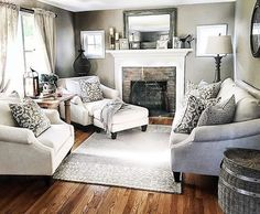 56 Relaxing Small Living Room Decor Ideas With Fireplace - Living Room - . - 56 Relaxing Small Living Room Decor Ideas With Fireplace - Farm House Living Room, Living Room Decor Fireplace, Small Living Room Furniture, Small Apartment Decorating Living Room, Room Remodeling, Apartment Decor, Living Decor, Room Layout, Apartment Decorating Living