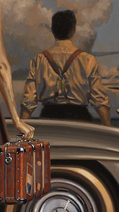 detail of painting called GULLWING 38x54 inches by PEREGRINE HEATHCOTE going to Arizona!! ( Mercedes 300SL coupe otherwise known as Gullwing first built 1952 as a racing car then went into production as a street car two years later)