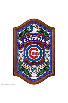 Score a homerun with this Cubs stained glass wall decor that lights up!