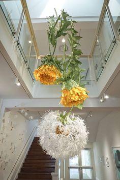 Paper Dandelion art installation by Hayley Sheldon Kitchen Lighting Fixtures, Shop Window Displays, Shop Plans, Shop Interior Design, Paper Flowers, Flower Crowns, Table Decorations, Floral, Dandelion Art